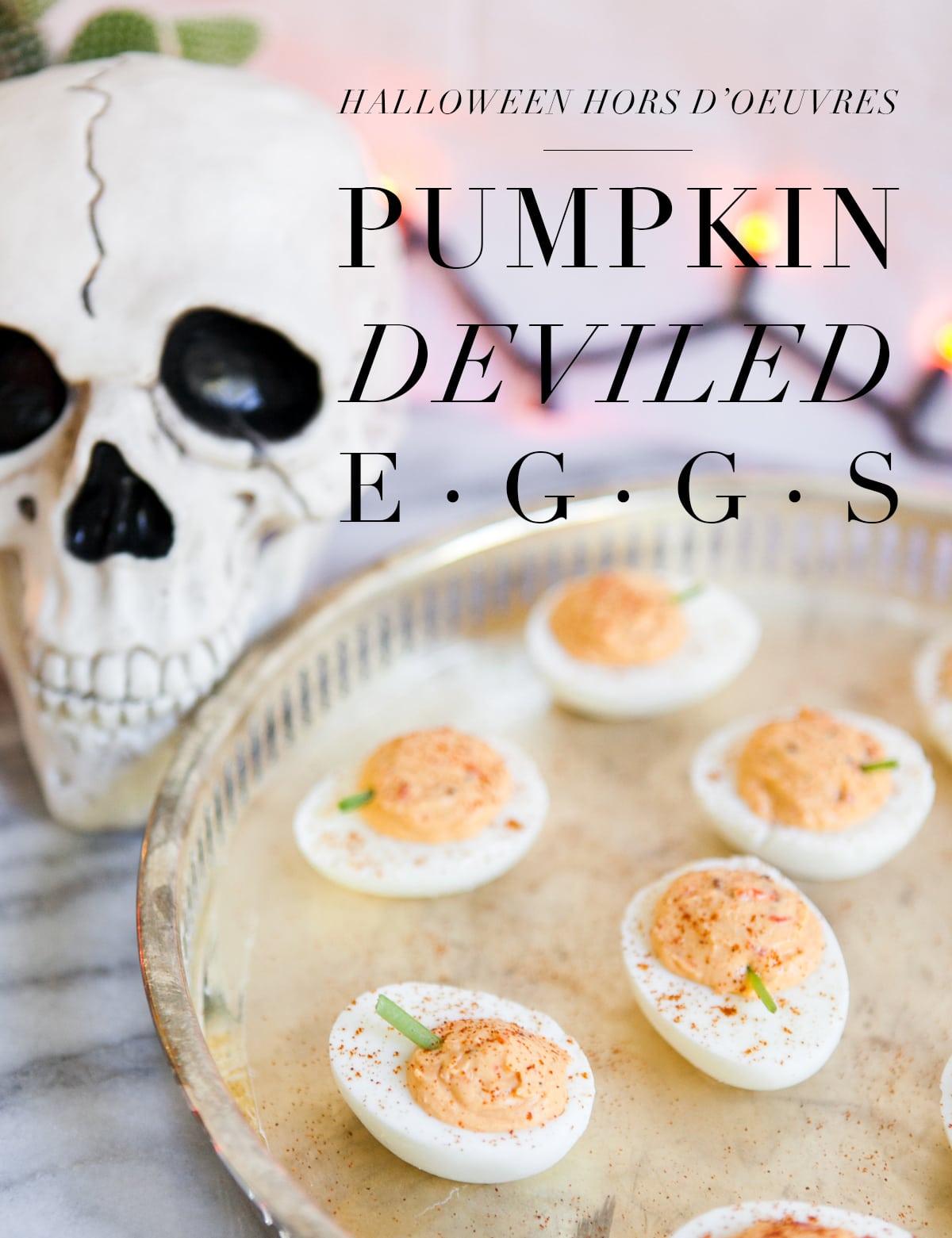 Halloween Hors D'oeuvre | Pumpkin Deviled Eggs | Quick & Easy Halloween Appetizer | Halloween Potluck | Holiday Snacks